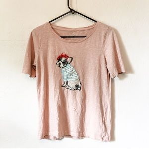 Talbots French Bulldog In Beret Sequins Tee